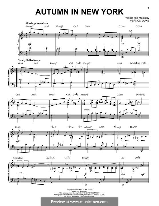 Autumn in New York: For piano (jazz version) by Vernon Duke