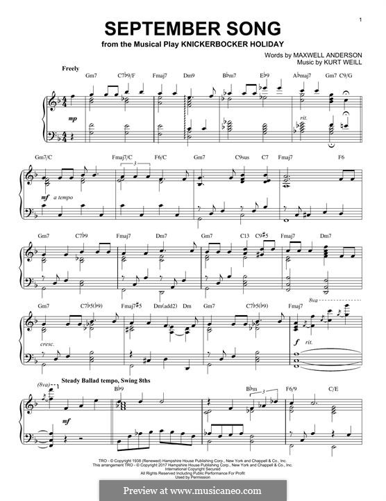 September Song: For piano by Kurt Weill