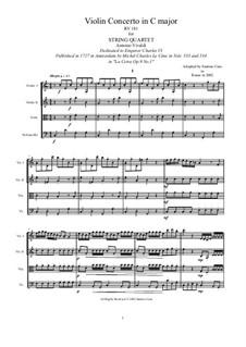 La Cetra (The Lyre). Twelve Violin Concertos, Op.9: No.1 Concerto in C Major, for string quartet, RV 181 by Antonio Vivaldi