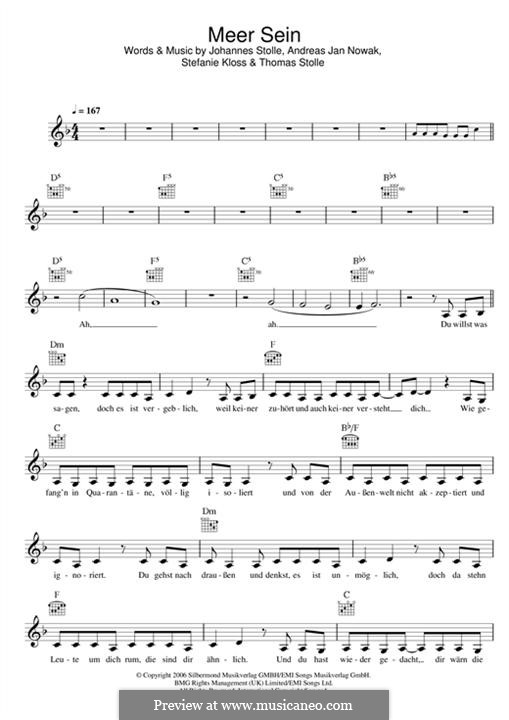 Meer Sein (Silbermond): Melody line by Johannes Stolle, Thomas Stolle, Andreas Jan Nowak, Stefanie Kloss