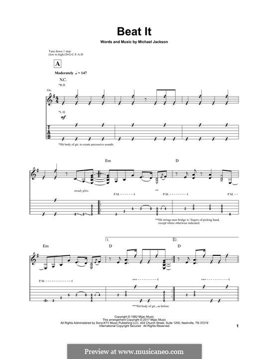 Beat It: For guitar with tab by Michael Jackson