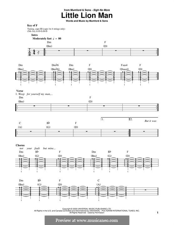 Little Lion Man Mumford Sons By M Mumford Sheet Music On
