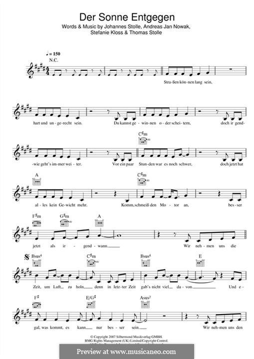 Der Sonne Entgegen (Silbermond): Melody line by Johannes Stolle, Thomas Stolle, Andreas Jan Nowak, Stefanie Kloss