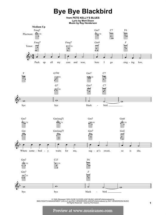 Bye Bye Blackbird: For banjo by Ray Henderson
