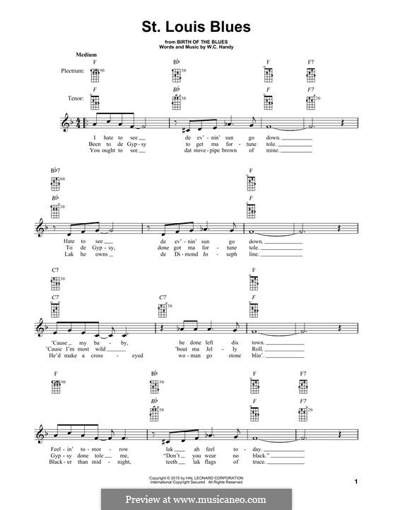 St. Louis Blues: For banjo by William Christopher Handy
