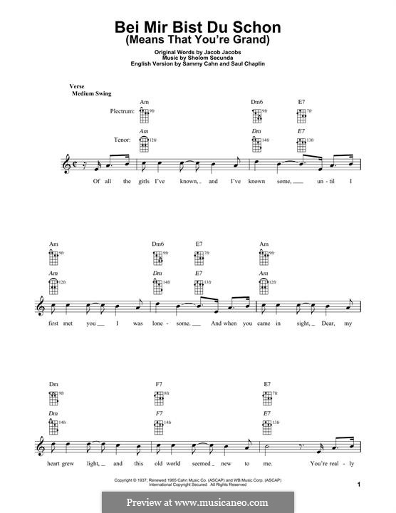 Bei mir bist du schön (Means That You're Grand): For banjo by Sholom Secunda
