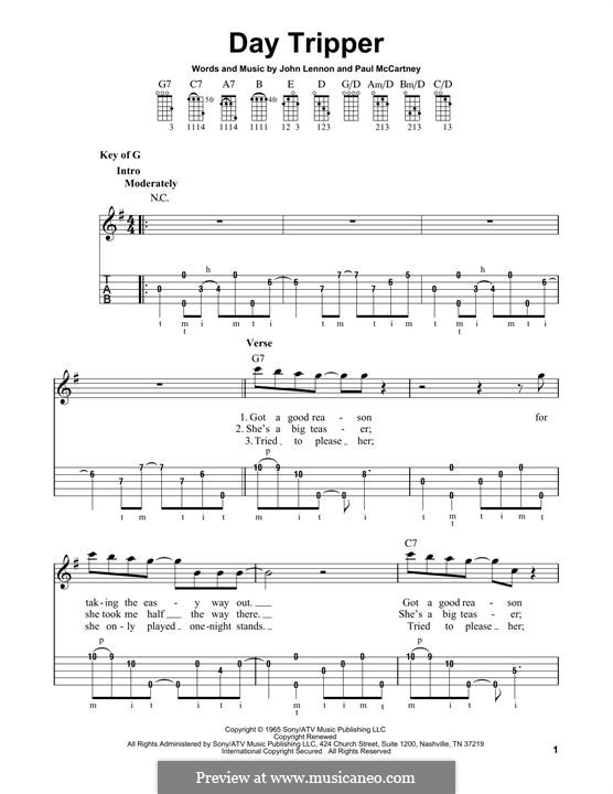 Day Tripper (The Beatles): For banjo by John Lennon, Paul McCartney