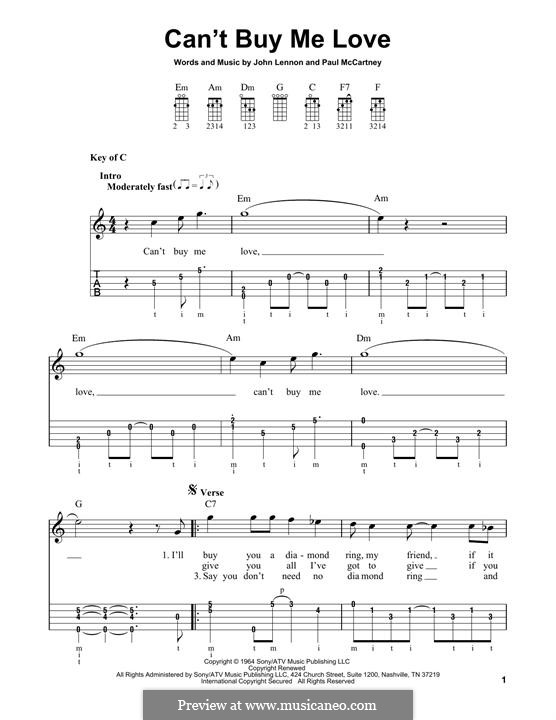 Can't Buy Me Love (The Beatles): For banjo by John Lennon, Paul McCartney