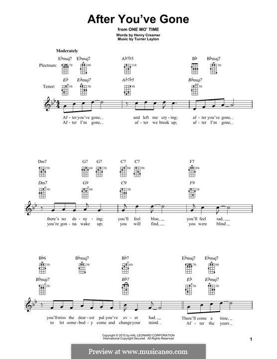 After You've Gone (Sophie Tucker): For banjo by Henry Creamer, J. Turner Layton
