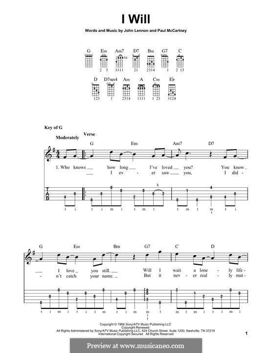 I Will (The Beatles): For banjo by John Lennon, Paul McCartney