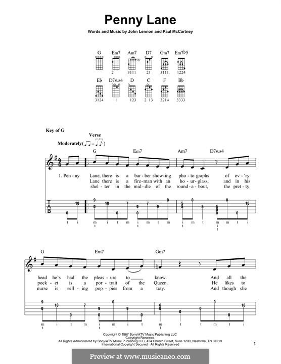 Penny Lane (The Beatles): For banjo by John Lennon, Paul McCartney