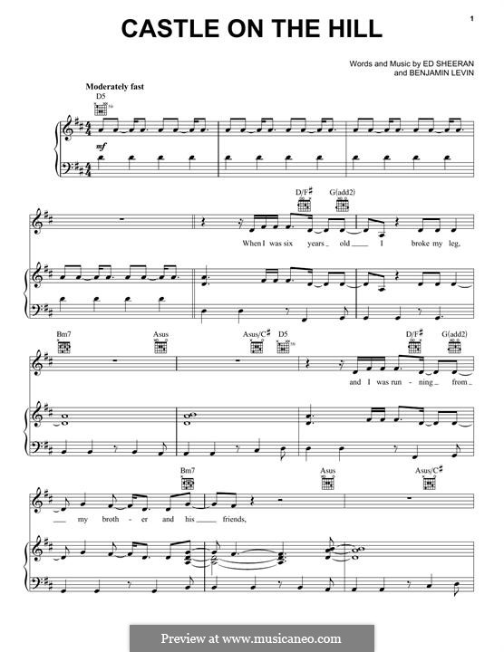 Castle on the Hill: For voice and piano (or guitar) by Ed Sheeran, Benjamin Levin