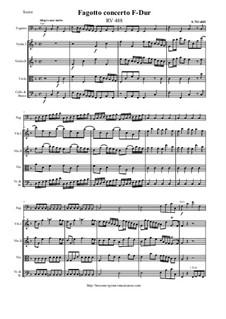 Concerto for Fagotto and Strings in F Major, RV 488: Score and parts by Antonio Vivaldi