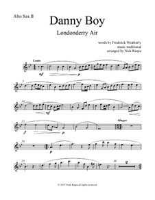 Danny Boy (Londonderry Air): For saxophone quintet - alto sax 2 part by folklore