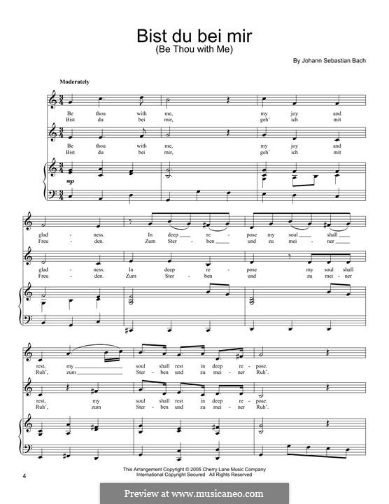 No.25 Bist du bei mir (You Are with Me), Printable scores: For voices and piano by Johann Sebastian Bach