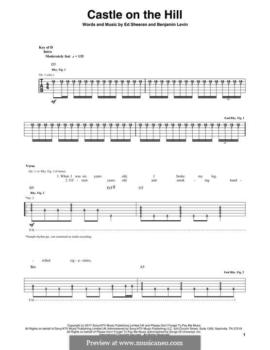 Castle on the Hill: For guitar with tab by Ed Sheeran, Benjamin Levin