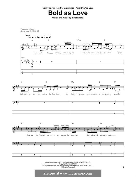 Bold as Love: For bass guitar with tab by Jimi Hendrix