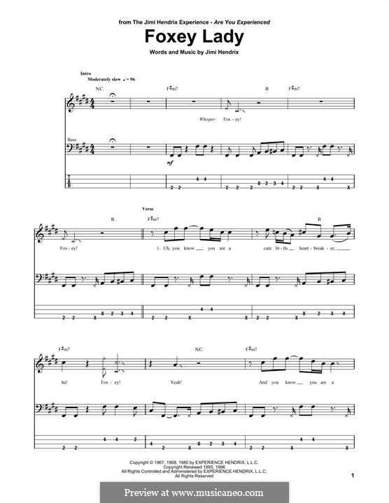 Foxy Lady: For bass guitar with tab by Jimi Hendrix