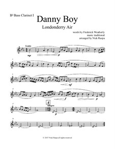 Danny Boy (Londonderry Air): For clarinet quintet - B flat bass clarinet I part by folklore