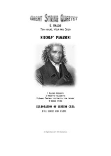 Great String Quartet in E Major: Complete score and parts by Niccolò Paganini