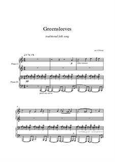 Greensleeves, for Piano: For four hands by folklore