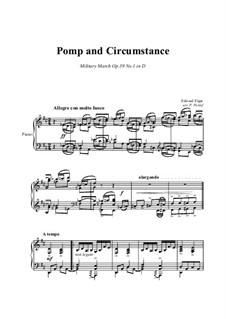 March No.1: For piano solo by Edward Elgar