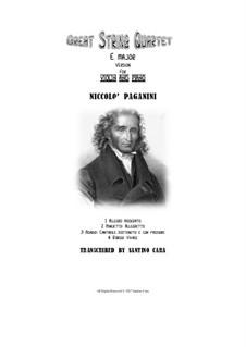 Great String Quartet in E Major: Version for violin and piano by Niccolò Paganini