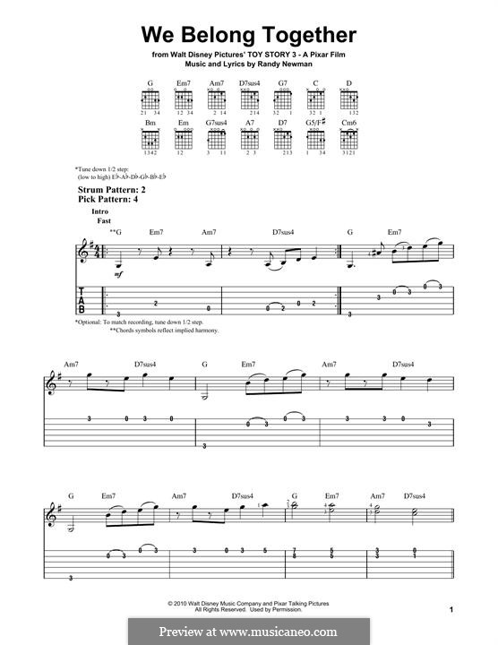We Belong Together (from Toy Story 3): For guitar with tab by Randy Newman