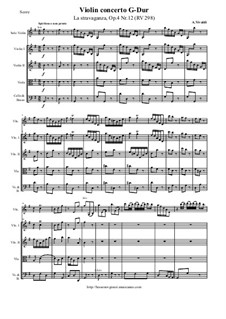 La stravaganza. Twelve Violin Concertos, Op.4: Violin Concerto No.12 in G Major 'La stravaganza' – score and parts, RV 298 by Antonio Vivaldi