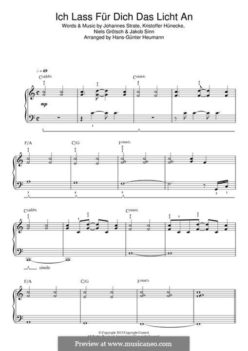 Ich Lass für Dich das Licht an (Revolverheld): For piano by Johannes Strate, Kristoffer Hünecke, Niels Grötsch, Jacob Sinn