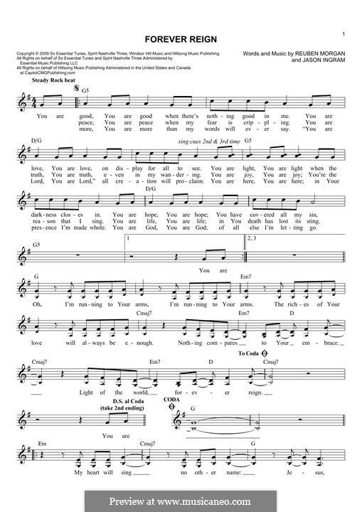 Forever Reign (Hillsong United): Melody line by Jason David Ingram, Reuben Morgan