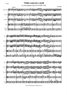 La stravaganza. Twelve Violin Concertos, Op.4: Violin Concerto No.10 in C Minor 'La stravaganza' – score and parts, RV 196 by Antonio Vivaldi