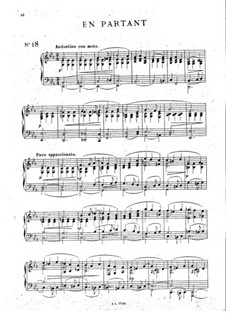 Seven Miniatures for Violin and Piano, Op.39: No.3 En partant, for Piano by César Cui
