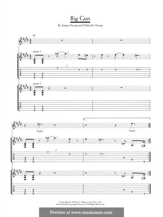 Big Gun (AC/DC): For guitar with tab by Angus Young, Malcolm Young