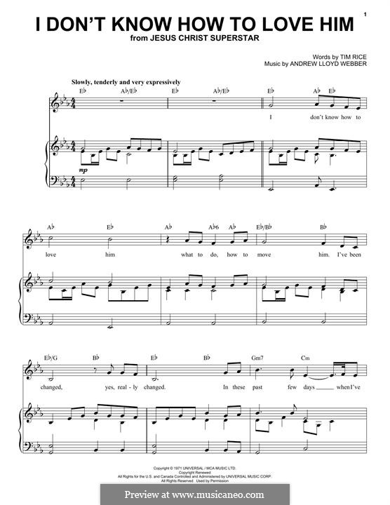 I Don't Know How to Love Him: For voice and piano by Andrew Lloyd Webber