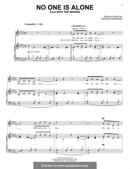 No One Is Alone (from 'Into the Woods'): For voice and piano by Stephen Sondheim