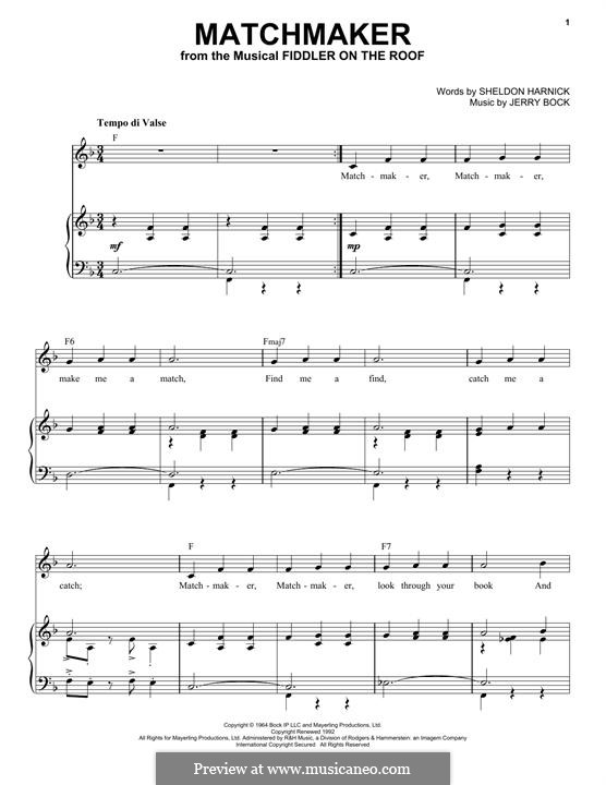 Matchmaker (from The Fiddler on the Roof): For voice and piano by Jerry Bock
