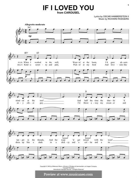 If I Loved You (from Carousel): For voice and piano by Richard Rodgers