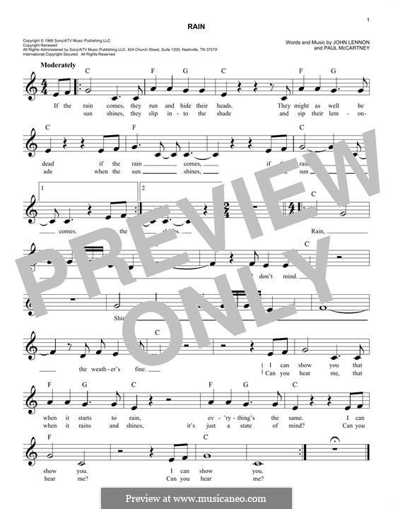 Rain (The Beatles): Melody line by John Lennon, Paul McCartney