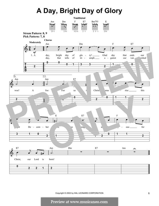 A Day, Bright Day of Glory: For guitar with tab by folklore