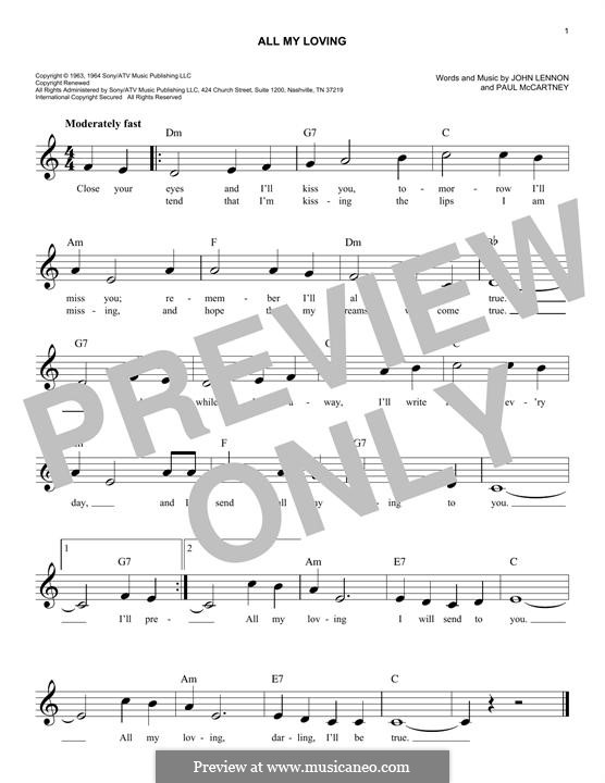 All My Loving (The Beatles): Melody line by John Lennon, Paul McCartney