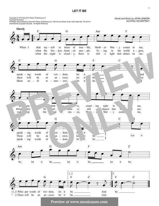 Let it Be (The Beatles): Melody line by John Lennon, Paul McCartney