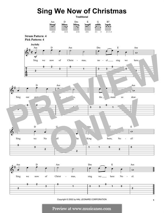 Sing We Now of Christmas (from Morning Star): For guitar with tab by folklore