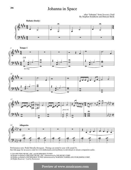 Johanna in Space: For piano by Duncan Sheik, Stephen Sondheim