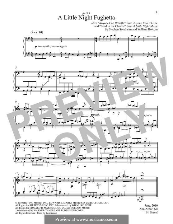A Little Night Fughetta: For piano by Stephen Sondheim, William Bolcom