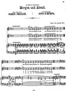 Four Sonnets, Op.48: No.3 Ranek i wieczór by César Cui