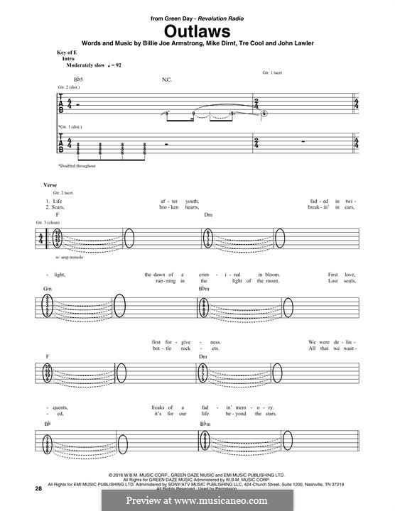 Outlaws (Green Day): For guitar with tab by Billie Joe Armstrong, Tré Cool, Mike Dirnt, John Lawler