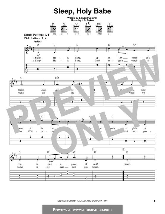 Sleep, Holy Babe! Upon Thy Mother's Breast: For guitar with tab by John Bacchus Dykes