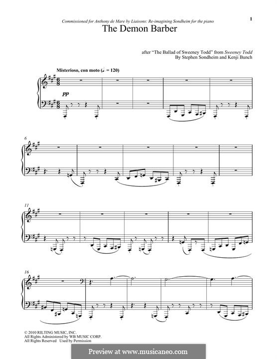 The Demon Barber: For piano by Stephen Sondheim