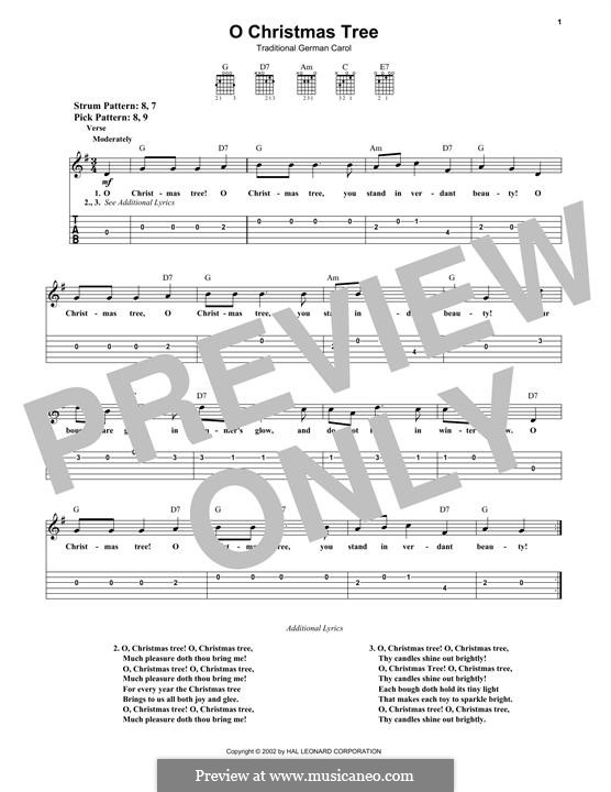 O Christmas Tree, (Printable Scores): For guitar with tab by folklore